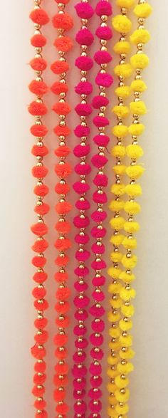 Pack of 6 Wool Pom Pom Garlands with Bell Party backdrop Indian Wedding Favors, Wedding Gift Bags, Indian Wedding Decorations, Cloth Garland Diy, Pom Pom Garland, Diwali Decoration Lights, Festival Decorations, Decoration Party, Diwali Diy