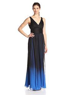 HALSTON HERITAGE Chiffon V-Neck Evening Dress, Black/Cobalt Ombre - http://www.womansindex.com/halston-heritage-chiffon-v-neck-evening-dress-black-cobalt-ombre/