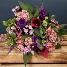 Bloom Magic - Flower Delivery Dublin - A lavish bouquet of flowers, filled with vibrant calla lily's, pink roses and purple roses. This bouquet comes expertly hand-tied with luxurious eucalyptus leaves. This bouquet is sure to put a smile on their face! Get Well Flowers, Anniversary Flowers, Same Day Flower Delivery, Eucalyptus Leaves, Purple Roses, Calla Lily, Dublin, Floral Wreath, Vibrant
