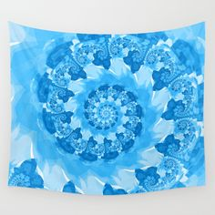 Endless Ocean Blue Spiral Wall Tapestry in Blue and White
