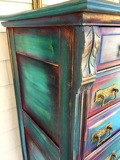 upcycling möbel Alice in Wonderland Bureau Funky Painted Furniture, Distressed Furniture, Refurbished Furniture, Paint Furniture, Repurposed Furniture, Furniture Projects, Furniture Makeover, Cool Furniture, Painted Dressers