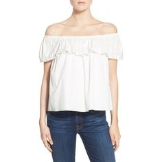 Rebecca Minkoff 'Celestine' Off the Shoulder Cotton Top ($128) ❤ liked on Polyvore featuring tops, chalk, crop top, off shoulder tops, white top, flutter-sleeve top and off the shoulder tops