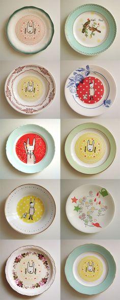 Assiettes vintage customisées
