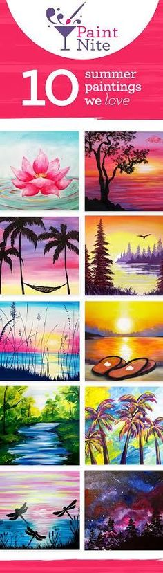 We're obsessed with these 10 Paint Nite pictures. Find paintings like these (and more!) at an event in your… Acrylic Canvas, Canvas Art, Canvas Paintings, Canvas Ideas, Wine And Canvas, Summer Painting, School Painting, Learn To Paint, Pictures To Paint