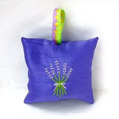 A recent addition to my #etsy shop: Hand-embroidered Hanging Lavender Sachet filled with home-grown lavender from Napa Valley | http://etsy.me/2nK0Q6U #art #fiberart #purple #housewarming #valentinesday #green #sachet #lavender #valentinesday