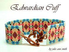 Julie Ann Smith Designs EDWARDIAN CUFF Odd Count Peyote Bracelet Pattern