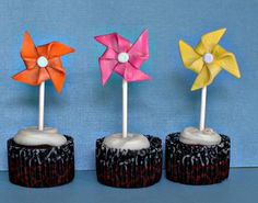 Fondant Pinwheels on a Stick Perfect for by parkersflourpatch, $18.00