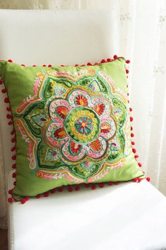 Green Turkish Traditional Decorative Pillow,Cushion Cover,Embroidered Pillow,Cotton Pillow Case Traditional Decorative Pillows, Decorative Throw Pillows, Patch Quilt, Embroidery Patterns, Hand Embroidery, Diy Pillow Covers, Embroidered Cushions, Cotton Pillow, Boho Pillows