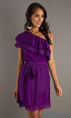 One Shoulder Purple Dress