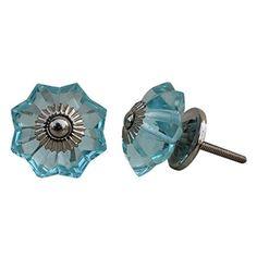 Set of 10 Handmade Glass Knobs Silver Vintage Designer Flower Shape Turquoise Furniture Handle Cabinet Drawer Pull