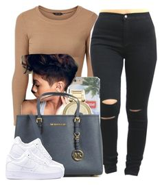 """"""""""" by newtrillvibes ❤ liked on Polyvore featuring MICHAEL Michael Kors, Michael Kors, NIKE, women's clothing, women's fashion, women, female, woman, misses and juniors"""