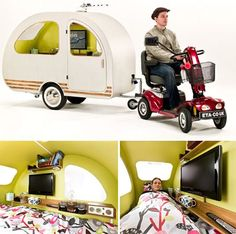 QTVan Camper Trailer Designed For Use With Electric Scooters - perhaps it could be towed by a bike as well?