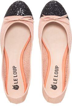 Le Loup - Ballerinas Coco textura rosa puntera negra
