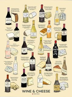 Wine and Cheese Pairings Poster by Wine Folly {wine glass writer} Wine Cheese Pairing, Wine And Cheese Party, Cheese Pairings, Wine Pairings, Food Pairing, Vegan Quesadilla, Beste Brownies, Wine Chart, Wine Folly