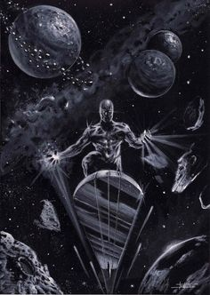 Silver Surfer commission by LucaStrati Marvel Comic Universe, Marvel Comics Art, Comics Universe, Marvel Heroes, Marvel Characters, Anime Comics, Captain Marvel, Hulk Marvel, Comic Book Heroes