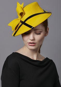 Rachel Trevor Morgan Millinery R17W6 Yellow velour felt percher with black patent and bow