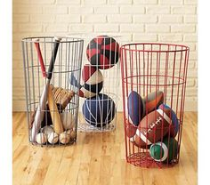 Wire Bins for storage.. Great idea for all kinds of things including pool toys so they can dry!