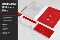 Red Massive Stationary Pack by alimran24 on @creativemarket