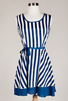 Bon Voyage Nautical Stripe Dress in Royal Navy | Sincerely Sweet Boutique