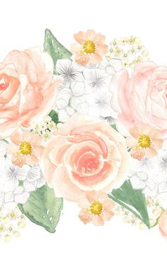 Roses and Hydrangeas Watercolor Bouquet