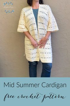 Mid Summer Cardigan Crochet Pattern - ChristaCoDesign - - Mid Summer Crochet Cardigan is a free pattern. This easy lightweight cardigan is a great beach cover up and will take you into fall when it cools down. Gilet Crochet, Crochet Coat, Crochet Cardigan Pattern, Crochet Motifs, Crochet Jacket, Cotton Crochet, Crochet Shawl, Easy Crochet, Crochet Clothes
