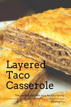 Layered Taco Casserole is easy to make but delicious to share. Gourmet Recipes, Cooking Recipes, Cooking Tips, Dinner Recipes, Vegan Recipes, Toco Recipes, Cooking Ham, Cooking Pasta, Freezer Cooking