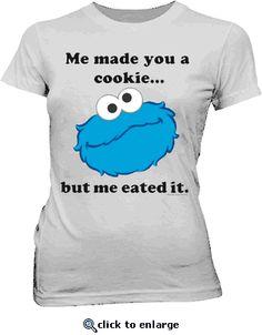 Sesame Street Cookie Monster Me Eated It Silver Juniors T-shirt