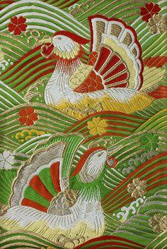 Silk fukuro obi with mandarin duck, wave and cherry blossom design | by nekineko