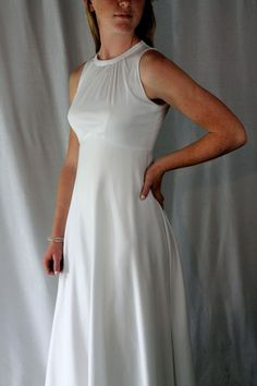 WEDDING GOWN  WHITE long dress   sleeveless by angelinesattic, $72.00