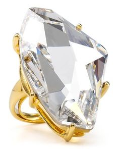 Kenneth Jay Lane Polished Gold & Crystal Ring by Kenneth-Jay-Lane £84