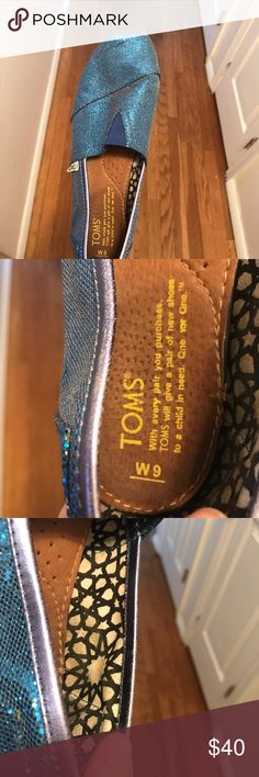 Gently used Toms size 9 blue glitter Size 9 Blue Glitter Toms TOMS Shoes Flats & Loafers
