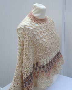 Beige Circular Asymmetric Long Poncho Shawl Handmade Unbalanced Design Beige Shades Hand Crocheted Ready To Ship