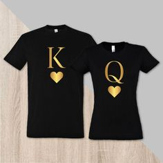 Couple matching royal t-shirt King and Queen husband and wife shirts couple shirts king t-shirt queen t-shirt pärchen t-shirts - Wify Shirt - Ideas of Wify Shirt - Couple matching royal t-shirt King with Queen by SayYouLoveMeGifts Cute Couple Shirts, Couple Tees, Family Shirts, Matching Couple Outfits, Matching Couples, Matching Shirts, Couple Style, Black Couples, Personalized T Shirts