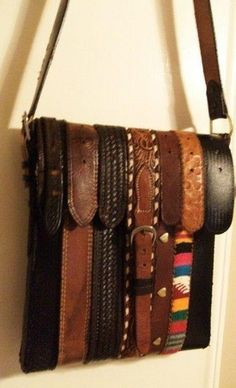 Reuse old belts, how fun! Love belts, but love bags even more