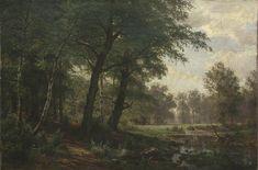 Forest landscape with stream.  - Ivan Shishkin