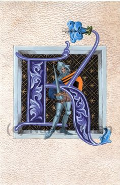 Medieval Illuminated Letter K This is an archival 4 x 6 print of my original artwork, painted in acrylics on goatskin parchment. It shows a