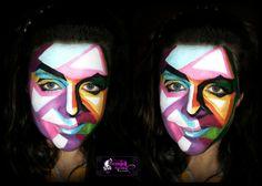 multi colour pop face paint