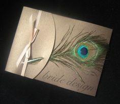Peacock feather wedding invite.