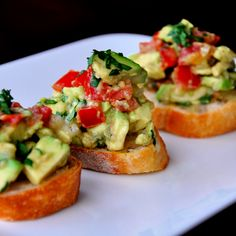 "Guacamole Bruschetta! Two of my favorite foods in one! (on ""whole"" grain bread)"