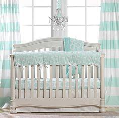 Woodland Crib Bedding | Mint Crib Bedding | Liz and Roo | Liz and Roo Fine Baby Bedding