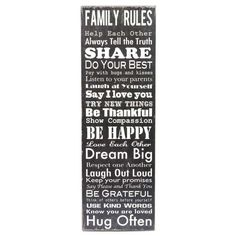 Black & Cream Family Rules Plaque