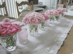 display of pink roses on runner <3