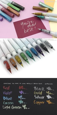 Kuretake Zig Wink of Luna Metallic Brush Pen - 9 Pen Bundle Stationary Items, Jet Pens, School 2017, Wreck This Journal, Pencil Writing, Green Copper, Office And School Supplies, Pen Sets, Colored Paper