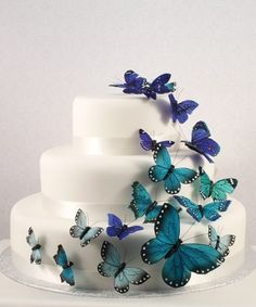 Beautiful Butterfly Wedding Cake Topper Set Colors Available) - Wedding Reception Items - Outdoor Wedding - Wedding Themes - My Wedding Butterfly Wedding Cake, Butterfly Cakes, Butterfly Birthday, Blue Butterfly, Butterfly Decorations, Butterfly Ornaments, Simple Butterfly, Butterfly Party, Papillon Butterfly