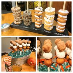 Donut display- turn this into a grooms cake idea! Donut-Display – verwandeln Sie dies in eine Bräutigam-Kuchen-Idee! Donut Birthday Parties, Birthday Brunch, Dessert Bars, Dessert Table, Party Buffet, Breakfast Buffet, Breakfast Cake, Sweet 16, Toffee