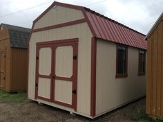 10 by 16 painted w/painted metal red roof! Bldg also includes electrical package with floor, ceiling and walls insulation! No credit checks! Free delivery and set up within 250 miles of Lubbock and Norman plants! Call us! 877-364-0516 or 806-223-2460!