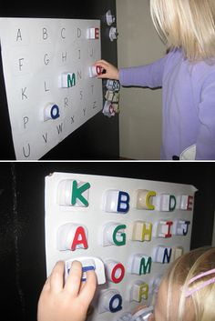 Copy letters onto paper and hang on fridge. Have kids match magnetic letters to those on sheet, stating what letter it is. For further practice think of words that start with that letter.