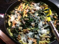 Use the Spaghetti with Collard Greens and Lemon recipe...greens take about 10 minutes to wilt...season with a lot of salt