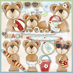 Beach Bears 1 - NE Trina Clark Clip Art - Click Image to Close