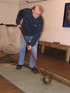 Steve Burns, a current member of the Hampstead Lawn Billiards and Skittle Club is pictured here for my benefit when I was assembling the wherewithal to get the game going again in 2009.